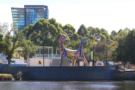 MELBOURNE, AUSTRALIA - JANUARY 28, 2019: Angel by Deborah Halpern, sculpture on the banks of the Yarra River at Birrarung Marr, in Melbourne, Australia