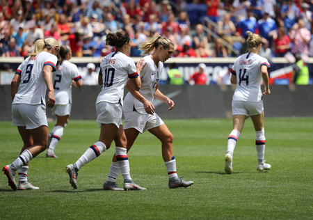 Photo for HARRISON, NJ - MAY 26, 2019: U.S. Women's National Soccer Team celebrates scoring goal during friendly game against Mexico as preparation for 2019 Women's World Cup in Harrison, NJ. USA won 3 - 0 - Royalty Free Image