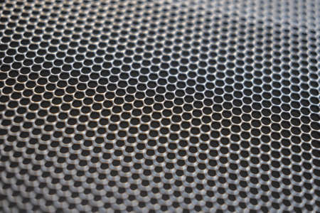 Photo for Metal background with round holes perforation, net of circles texture - Royalty Free Image