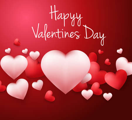 Illustration for Happy Valentines Day background with with heart shaped balloons - Royalty Free Image