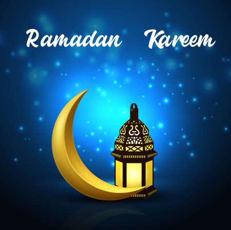 Illustration pour Ramadan Kareem background with crescent moon and arabic lantern - image libre de droit