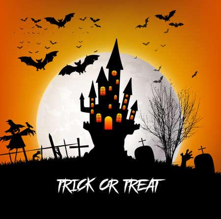 Illustration pour Trick or Treat Halloween with castle and moon - image libre de droit