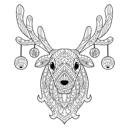 Illustration for Hand drawn deer head with decoration christmas balls - Royalty Free Image