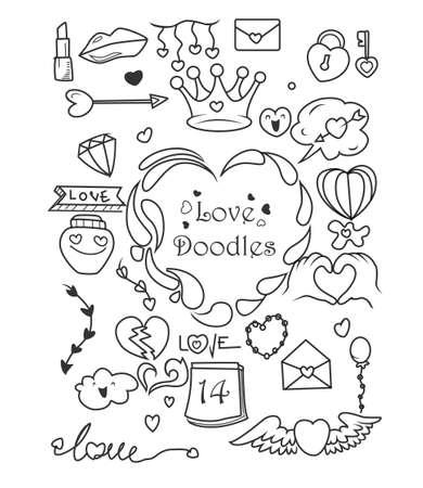Illustration pour Set of Valentine's day doodle elements - image libre de droit