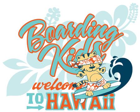 Cute kitten surfing Hawaii artwork for children wear custom colors