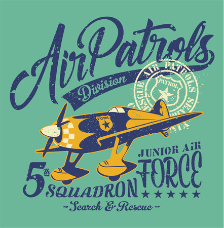 Air patrols squadron, vector vintage print for children wear grunge effect in separate layer