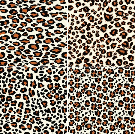 Illustration for Four abstract leopard skin wallpaper wild fur vector seamless pattern - Royalty Free Image