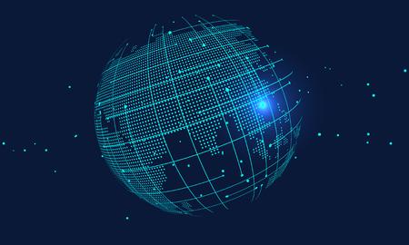 Illustration pour 3D abstract world map, internationalization and globalization - image libre de droit