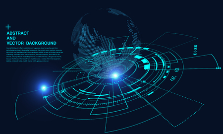 Ilustración de Abstract concept earth, internet connection, virtual reality and science and technology background, artificial intelligence and cloud computing, big data - Imagen libre de derechos