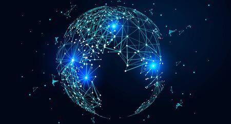 Illustration pour Point and line composed world map, global network connection concept - image libre de droit