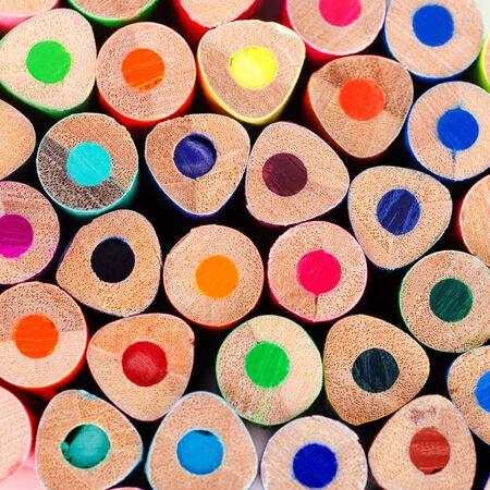 Photo pour Background wooden colored pencils. Design concept. Selective focus. - image libre de droit