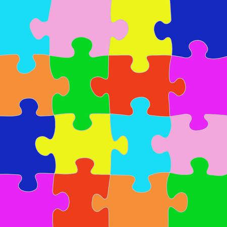 Photo pour Multicolored puzzle with a white outline. Design concept. Copy of the space. - image libre de droit