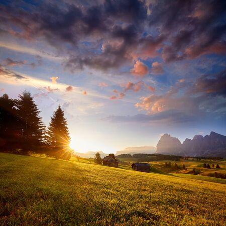 Foto de Wonderful summer view of Dolomiti Alps. Attractive morning scene of Compaccio village, Seiser Alm or Alpe di Siusi location, Bolzano province, South Tyrol, Italy, Europe. - Imagen libre de derechos