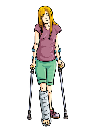 illustration of Girl with a broken leg