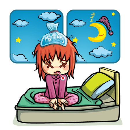 Sick kid lying on bed in night time cartoon vector