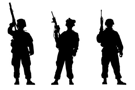 Black silhouettes of the soldiers on white background