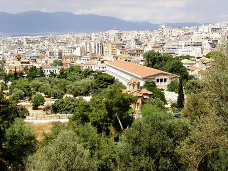 panoramic view of Athens, in Greece. Birthplace of democracy.