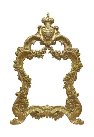 Photo pour Golden frame for paintings, mirrors or photo isolated on white background. Design element with clipping path - image libre de droit