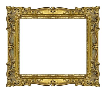 Photo pour Golden frame for paintings, mirrors or photo isolated on white background. - image libre de droit