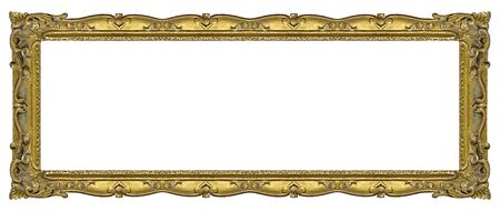 Photo pour Panoramic golden frame for paintings, mirrors or photo isolated on white background. - image libre de droit