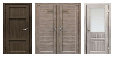 Photo for Set of entrance doors (Interior wooden doors) isolated on white background - Royalty Free Image