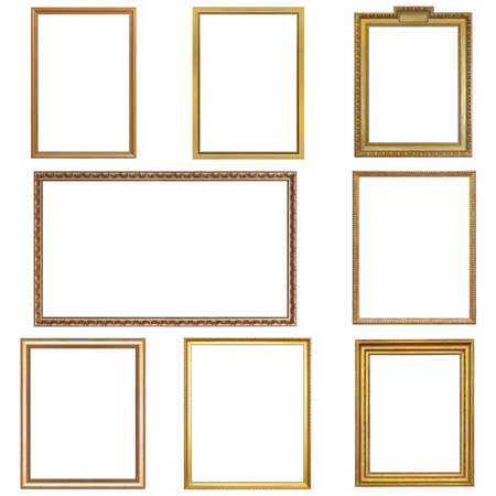 Photo pour Set of golden frames for paintings, mirrors or photo isolated on white background - image libre de droit