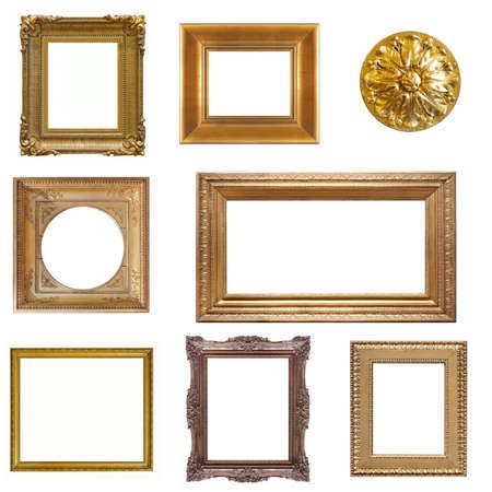 Photo pour Set of golden and wooden frames for paintings, mirrors or photo isolated on white background - image libre de droit