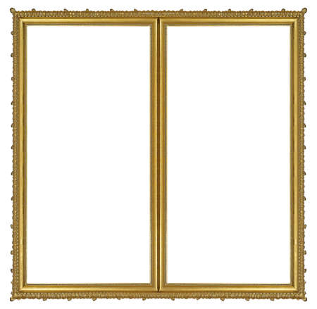 Photo pour Double golden frame (diptych) for paintings, mirrors or photos isolated on white background. - image libre de droit