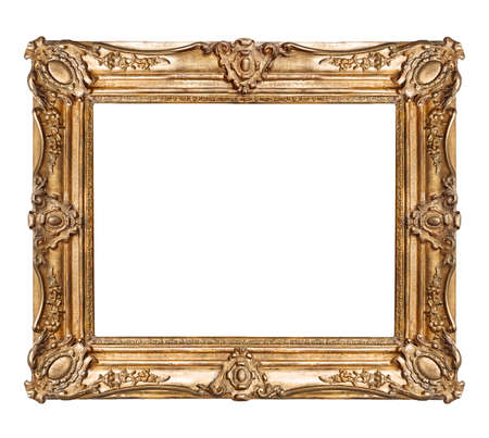 Foto de Golden frame for paintings, mirrors or photo isolated on white background - Imagen libre de derechos