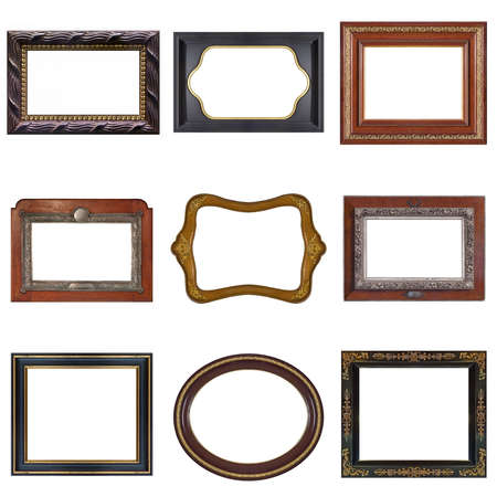 Photo pour Set of wooden frames for paintings, mirrors or photo isolated on white background - image libre de droit