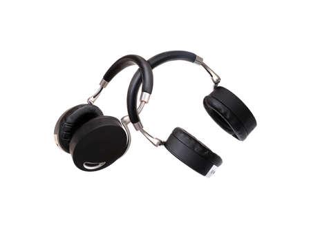 Photo for Black wireless headphones isolated on white background - Royalty Free Image