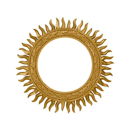Photo pour Golden round frame for paintings, mirrors or photo isolated on white background - image libre de droit