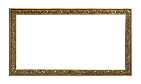 Photo pour Panoramic golden frame for paintings, mirrors or photo isolated on white background - image libre de droit