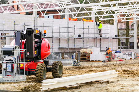 Photo for new building construction site, wall and metal roof constructions - Royalty Free Image