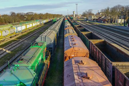 Photo for many freight train wagons at the railroad station - Royalty Free Image
