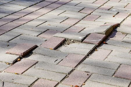 Photo for defective cobblestone pavement due to incorrectly prepared base - Royalty Free Image