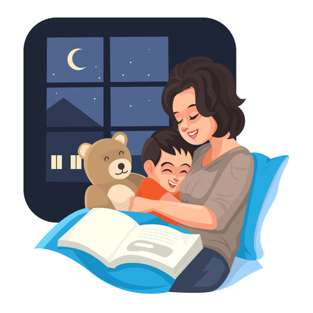 Illustration for Mother tell story with her son at night, Vector illustration. - Royalty Free Image