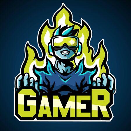 Illustration pour Gamer, Mascot logo, Sticker design, Vector illustration. - image libre de droit
