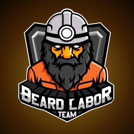 Illustration for Beard labor, Mascot logo, Vector illustration. - Royalty Free Image