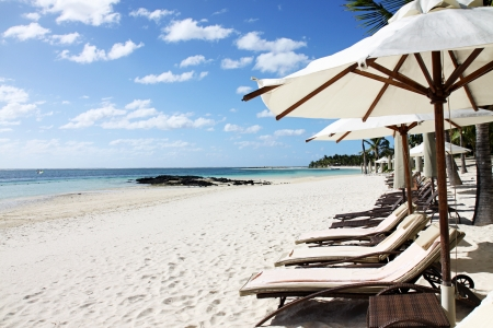 Sunbeds and umbrellas, Belle Mare Beach, Mauritius, Africa