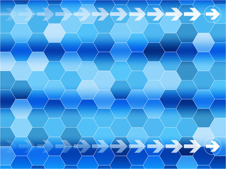 Blue communications background with arrows and Hexagon