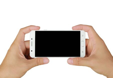 Photo for Hands holding mobile smartphone with blank screen. Mobile photography concept. Isolated on white. - Royalty Free Image