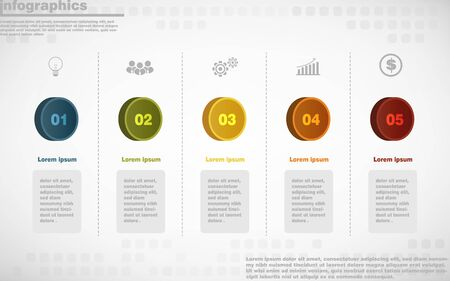 Illustration pour illustrations vector of infographics design and business marketing icons with 5 options or processes layout, diagram, annual report, web design. - image libre de droit