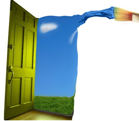 Door opening to  blue sky, with paint brush