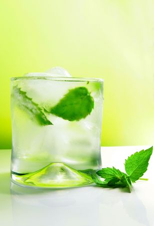 mojito cocktail with ice and fresh mint