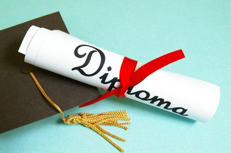 mini graduation cap and diploma