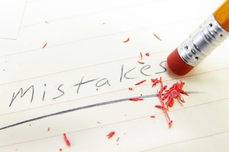 closeup of a pecil eraser correcting a mistake
