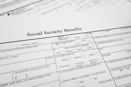 closeup of a Social Security Benefits form