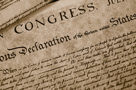 The Declaration of Independence text on worn paper
