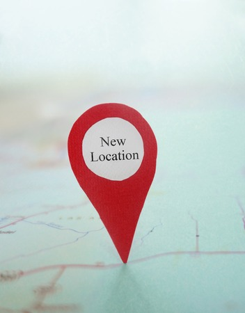 Red New Location locator on a map
